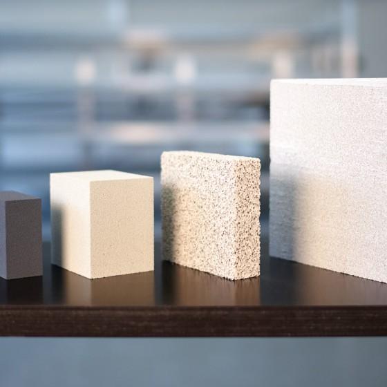 hydraulisch gebundene poröse Materialien